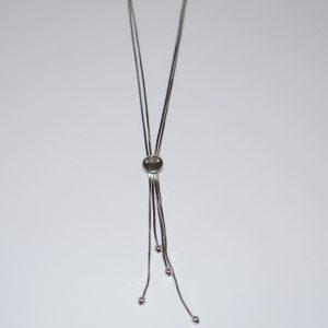 Rhodineret Y-kæde i 2 rækker kantet slangekæde