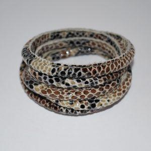 Læderarmbånd , 5 rækker- slange print.